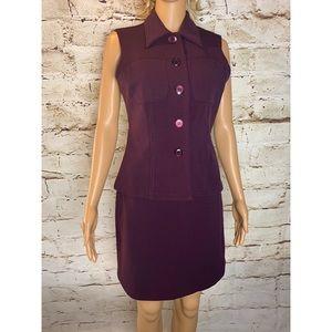 Vintage Plum Sleeveless Skirt Suit Set
